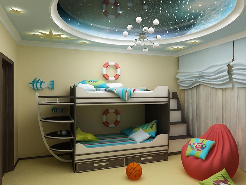 Интерьер детской с мансардной крышей