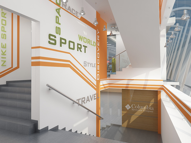 Магазин спорт холл интерьер холла
